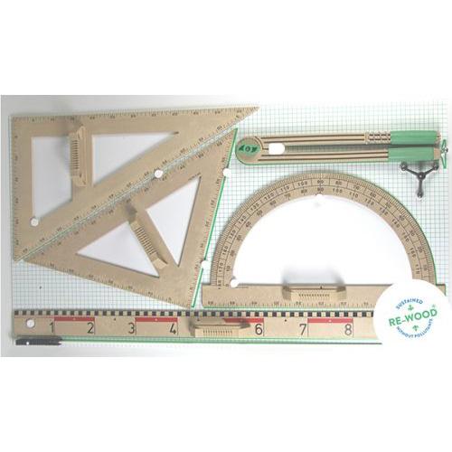Geometrijski pribor za školsku ploču drveni