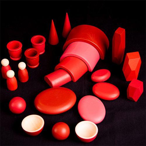 EY11120 Kolekcija drvenih predmeta - Crvena boja
