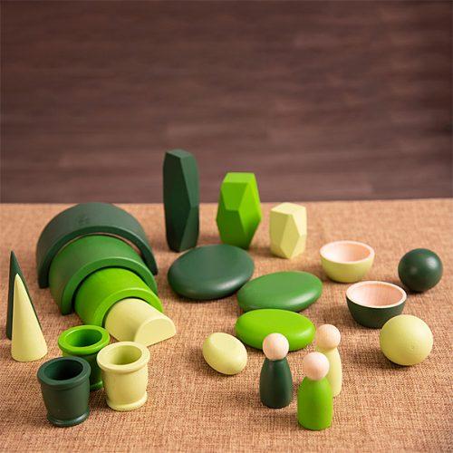 EY11123 Kolekcija drvenih predmeta - Zelena boja