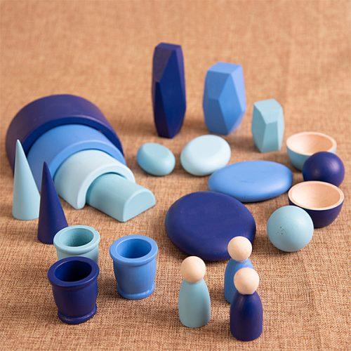 EY11124 Kolekcija drvenih predmeta - Plava boja