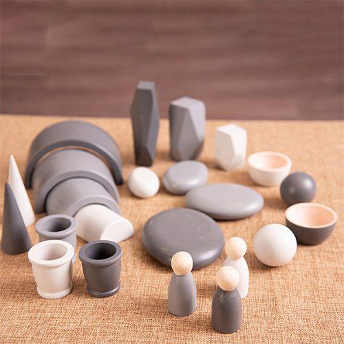 EY11127 Kolekcija drvenih predmeta - Siva boja