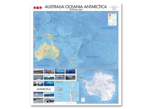 NS8334 Fizička karta kontinenata Australije, Oceanije, Antarktike